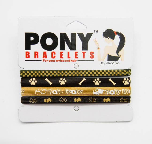 BLACK/TAN DOG THEME PONY BRACELETS