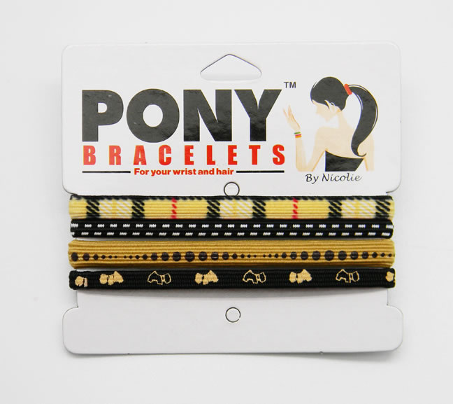 BLACK/TAN PLAID PONY BRACELETS
