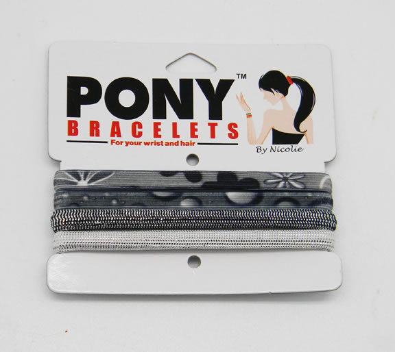 Black and Silver Pony Bracelets
