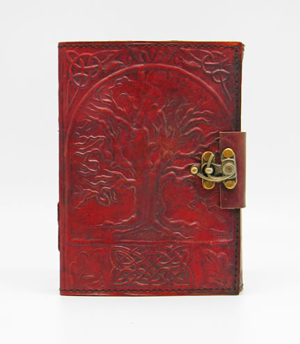 "Tree of Life Leather Embossed Journal  5 X 7"" with metal lock"