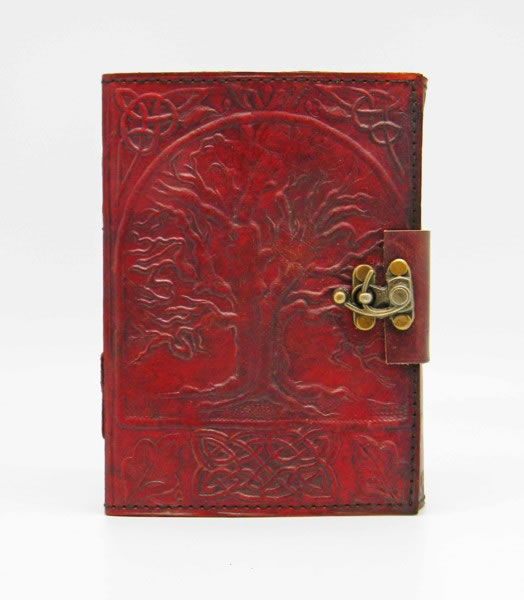 3.5 x 5 inch Tree of Life Leather Embossed  Journal with lock