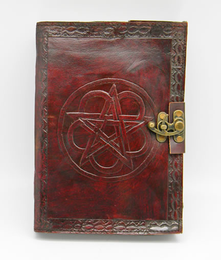 Leather Embossed 7 x 10 inch Pentagram Journal with lock
