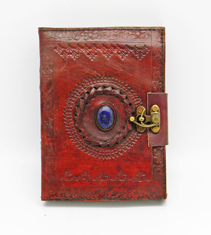 Leather Embossed Stone Eye Journal with Lock 5 x 7""