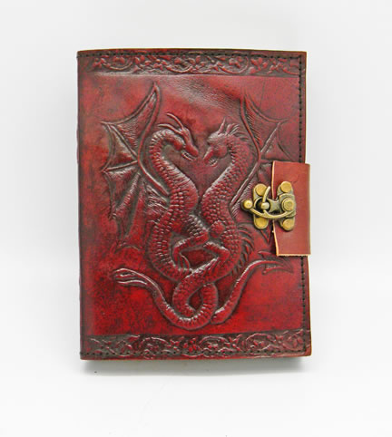 Leather Embossed Double Dragon Journal 5 x 7 ""
