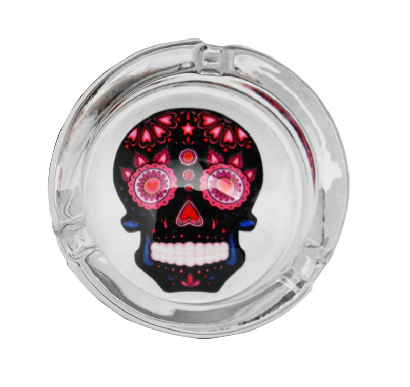 Black Glass Day of the Dead Ashtray
