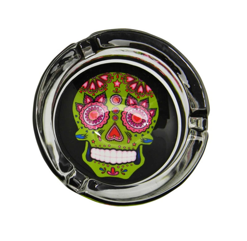Green Glass Day of the Dead Ashtray
