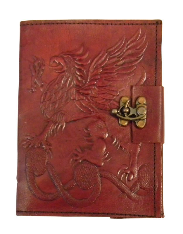 Gryphon Leather Embossed Journal 5 x 7 inches with metal lock