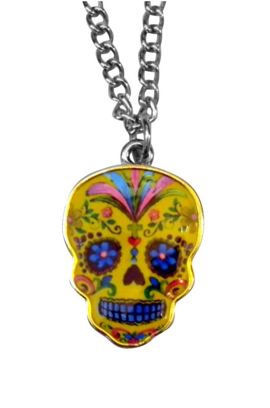 Day of the Dead Yellow Epoxy Necklace