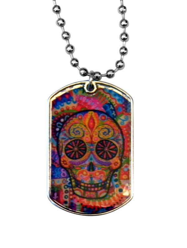 Day of the Dead Multi Colored Epoxy Dogtag Necklace