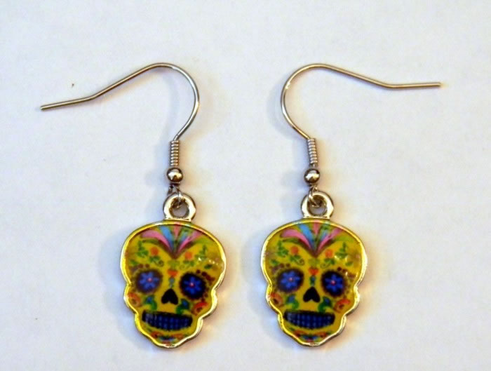 Day of the Dead Yellow Epoxy Earrings