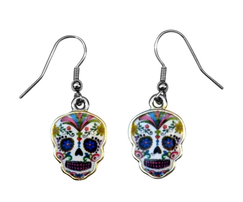 Day of the Dead Whie Epoxy Earrings