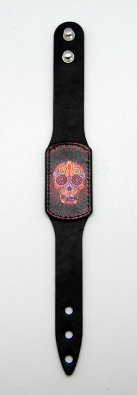 Black Day of Dead Leather BRACELET