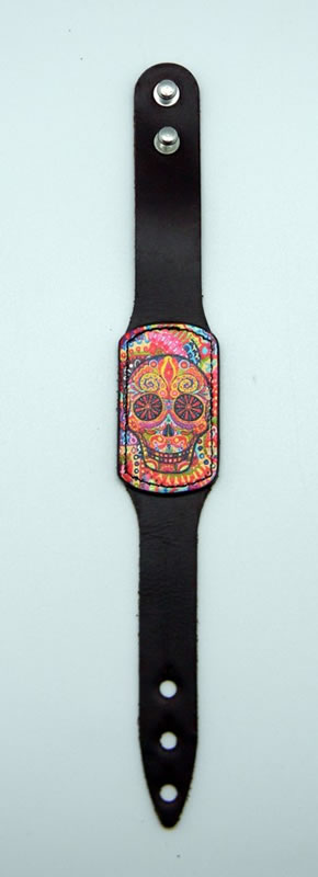 Brown Leather Day of the Dead Bracelet with Multi Colored Face
