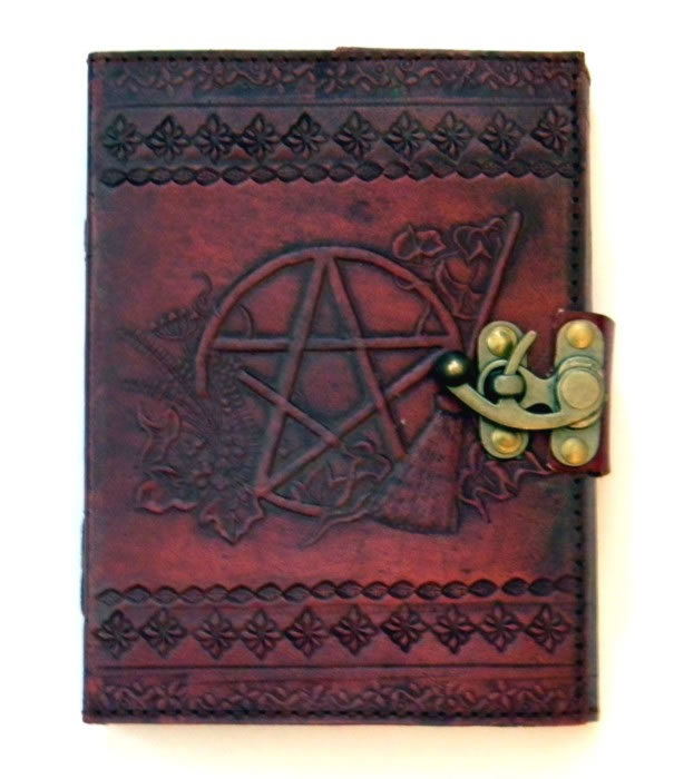 Pentagram Leather Embossed Journal by Sabrina the Ink Witch 5 x 7 inches
