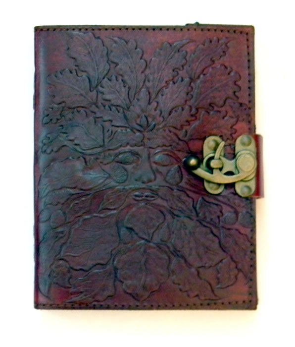 Green Man Leather Embossed Journal with Lock 5 x 7 inches