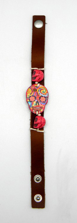 Leather Day of the Dead BRACELET