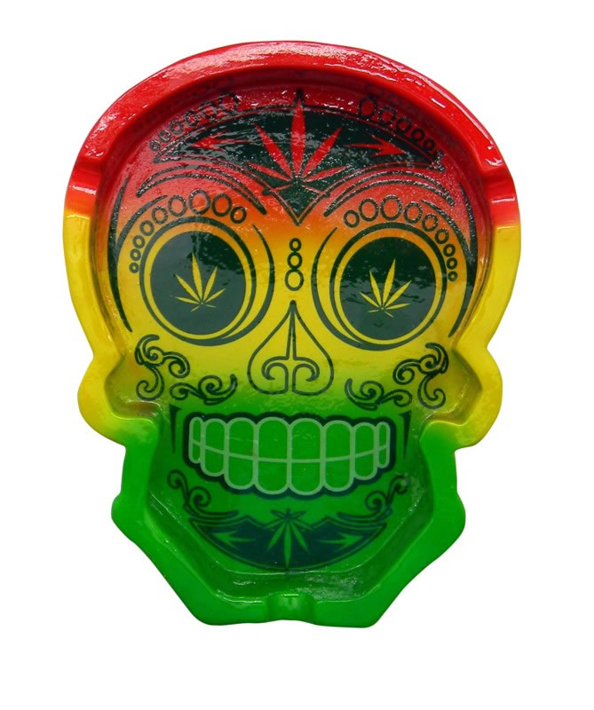 DAY OF THE DEAD/LEAF EYES SHAPED ASHTRAY