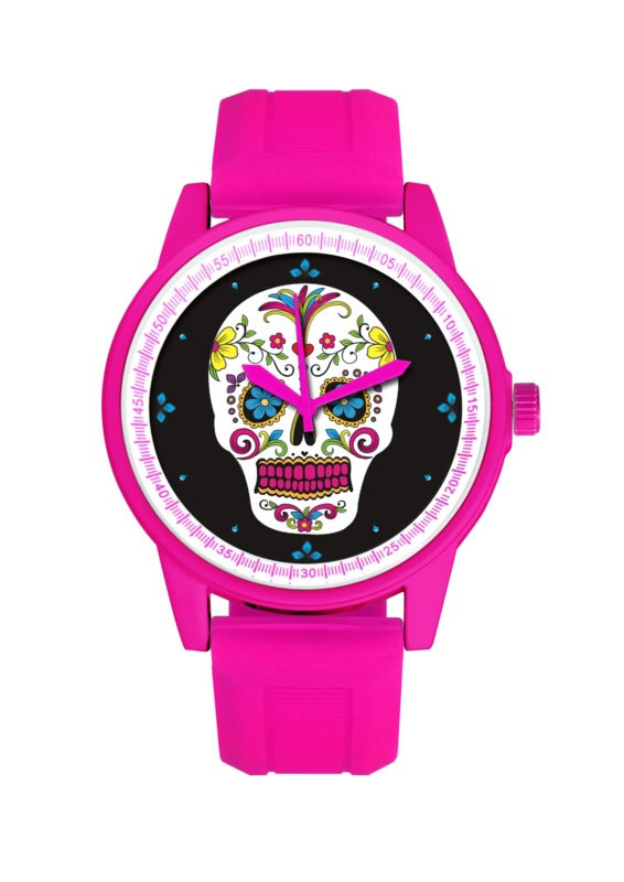 HOT PINK BAND/WHITE FACE DAY OF THE DEAD WATCH