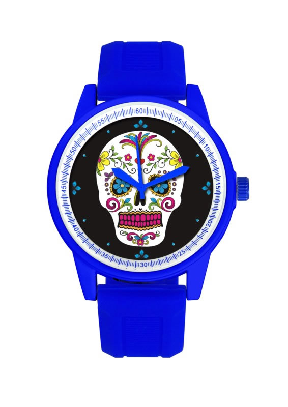BLUE BAND/WHITE FACE DAY OF THE DEAD WATCH
