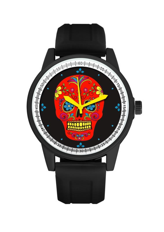 BLACK BAND/RED FACE DAY OF THE DEAD WATCH
