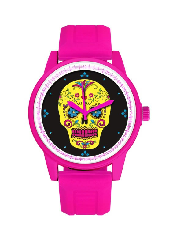 HOT PINK BAND/YELLOW FACE DAY OF THE DEAD WATCH