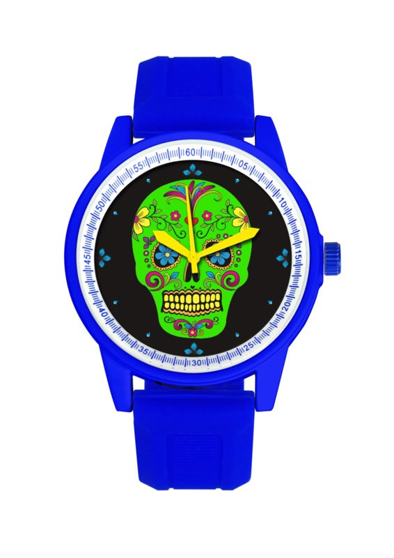BLUE BAND/GREEN FACE DAY OF THE DEAD WATCH
