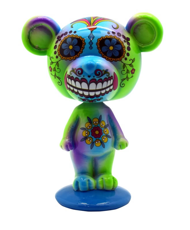 Blue/Green Day of the Dead Bear Bobblehead