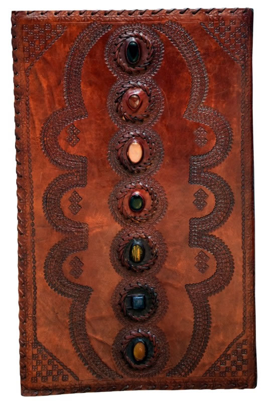 Humongous Leather Embossed Journal with 7 Chakra Stones
