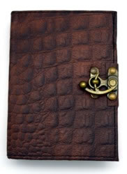 5 x 7 inch Brown Python Leather Embossed Journal