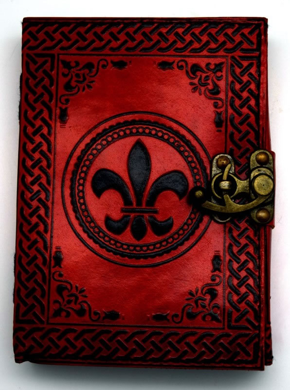 5 x 7 inch Fluer De Lis 2 color Leather Embossed Journal