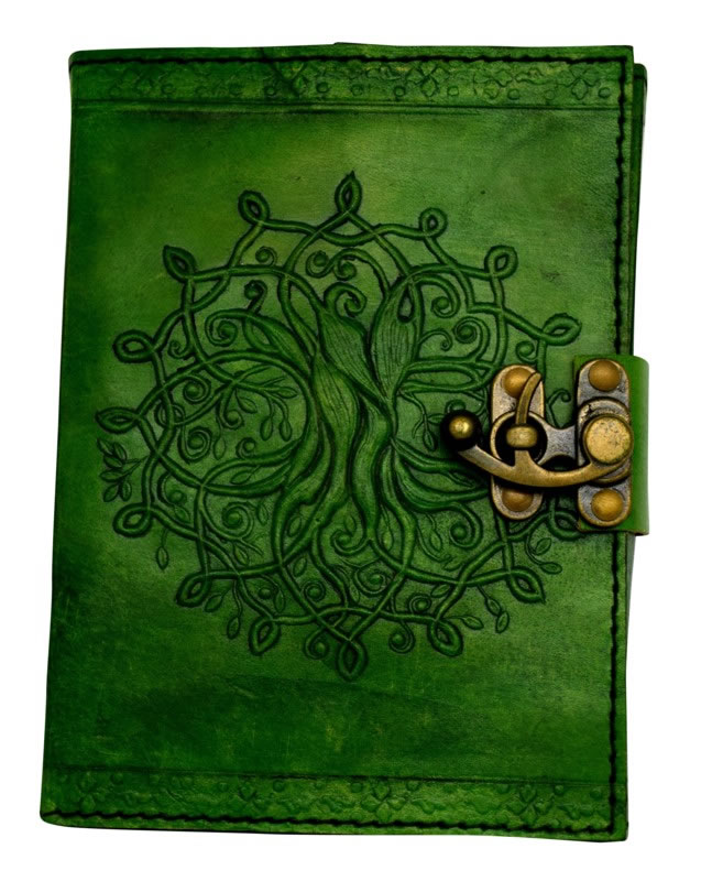 5 x 7 inch Green Leather Embossed Journal with a Tree of Life Design