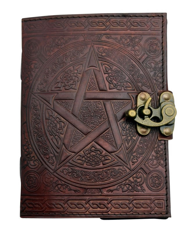 5 x 7 inch New Pentagram Brown Leather Embossed Journal