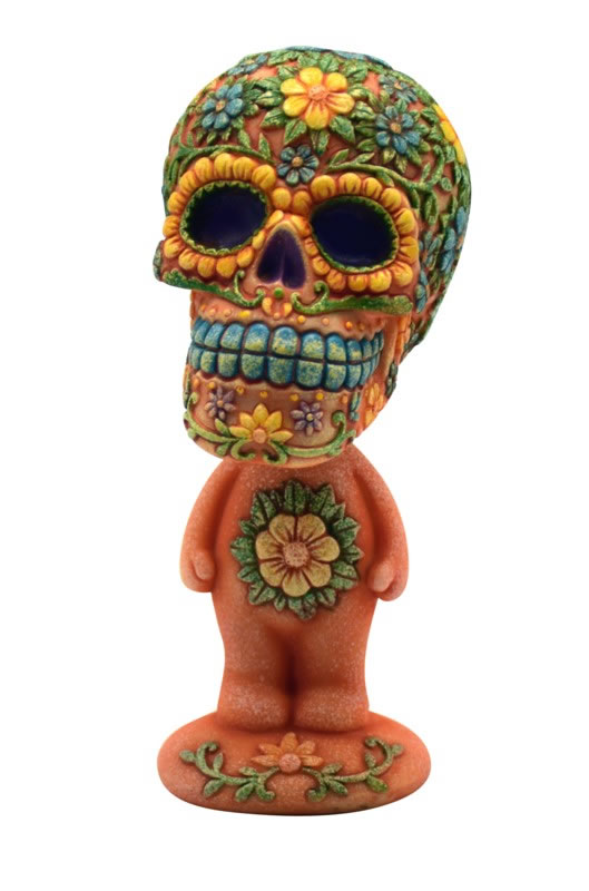 Orange Sugar Skull Bobble Head