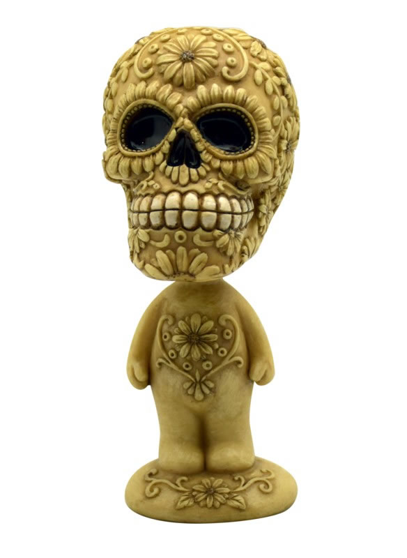 Bone Colored Sugar Skull Bobble Head
