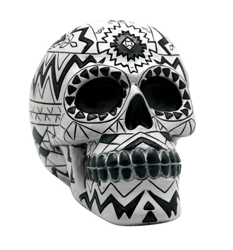 Black/White Aztec Sugar Skull Bank