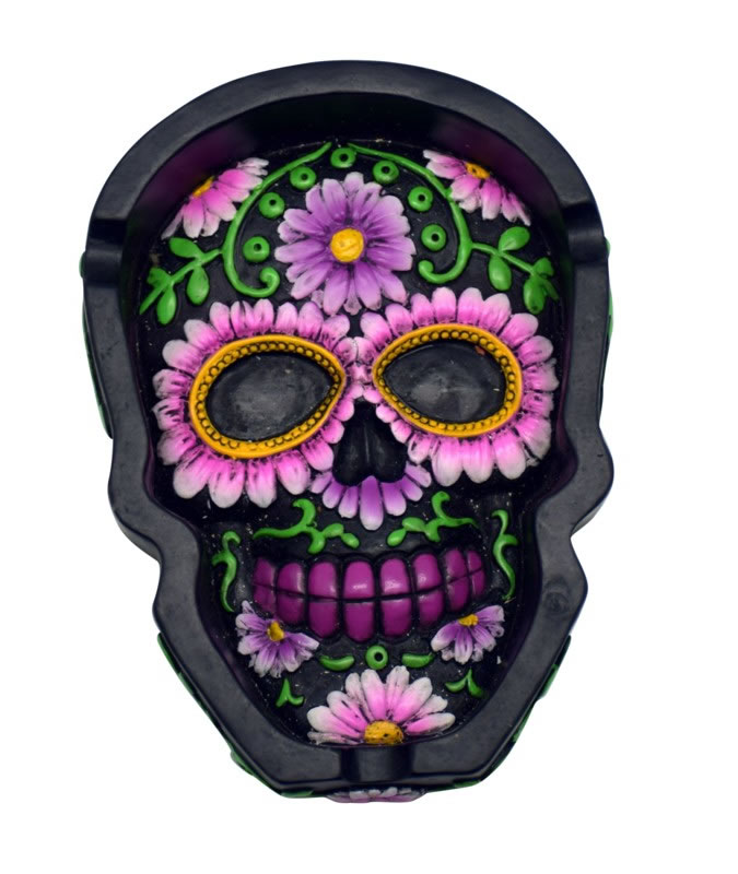 Black/Pink Sugar Skull Flat Ashtray/Tray