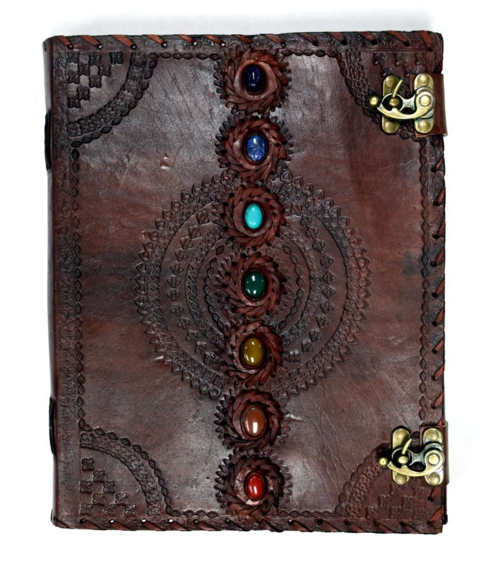 10 x 13 Chakra Stones Leather Embossed Journal