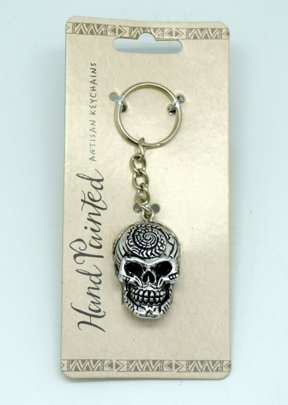 Silver Day of the Dead Key Chain