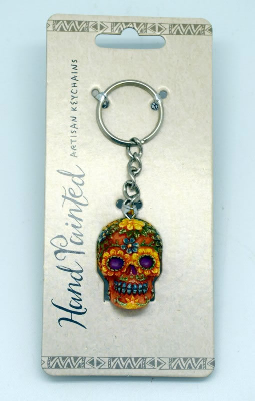 Orange Day of the Dead Key Chain