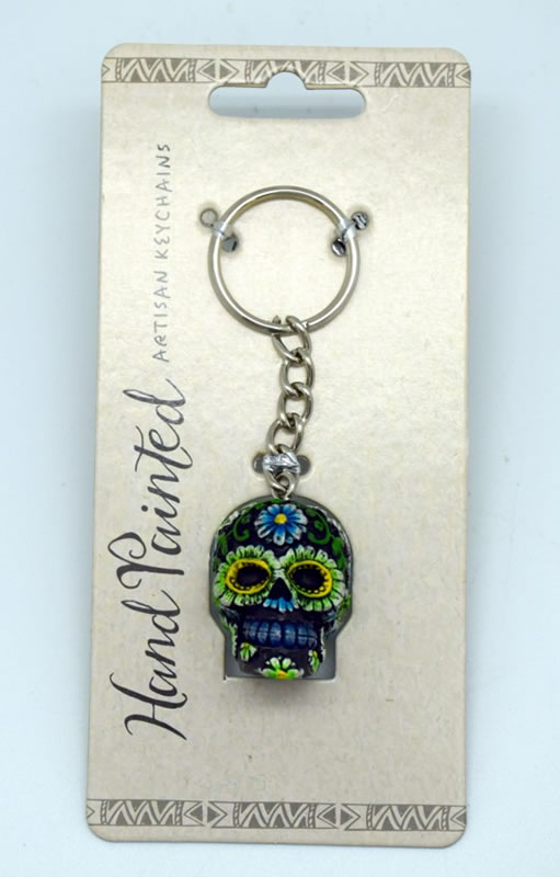 Black/Blue Day of the Dead Key Chain