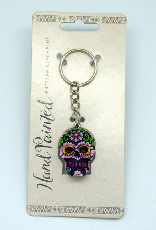 Purple Day of the Dead Key Chain