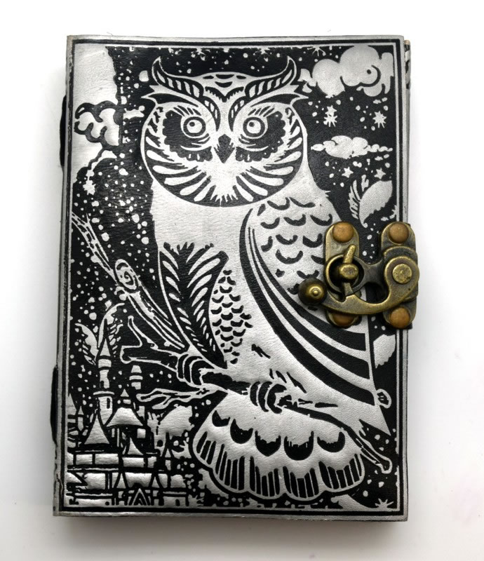 Black/Silver Leather Embossed Owl Journal