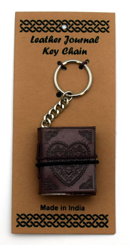 Celtic Heart Leather Embossed Journal Key Chain