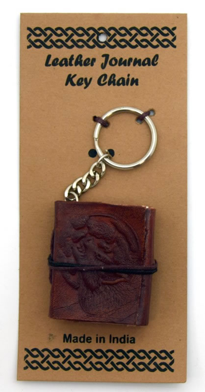 Wolf/Moon Leather Embossed Journal Key Chain