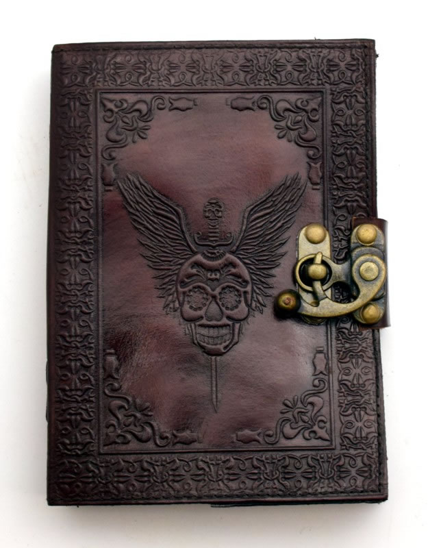 Skull with Wings Leather Embossed Journal