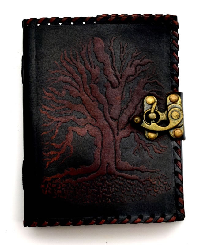 Black/Brown Tree of Life Leather Stitched Leather Embossed Journal