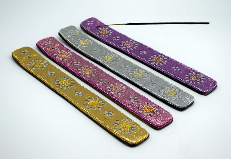 Set of 4 Glitter and Mirror Design Incense Burners
