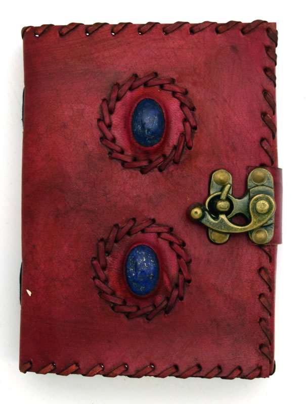 2 Lapis Stone Embossed and Stitched Leather Journal