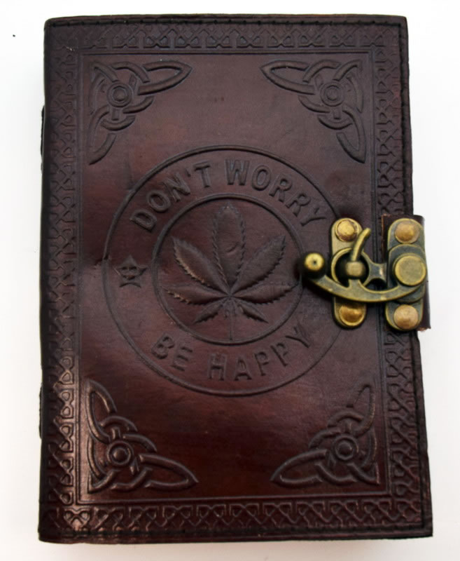 Leaf/Don't Worry Be Happy Leather Embossed Journal