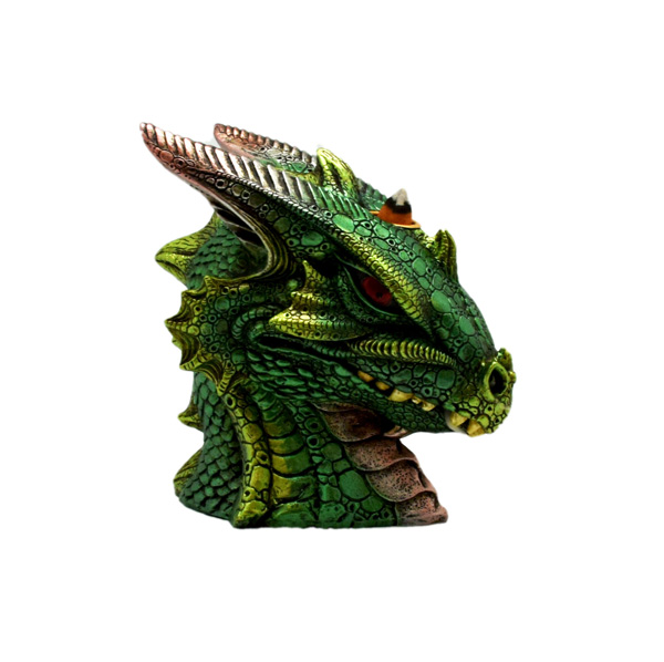 Big Green Dragon Bust Back Flow Incense Burner